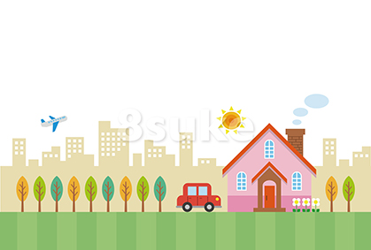 イラスト素材:街並みの中のマイホーム(ベクター・JPG)