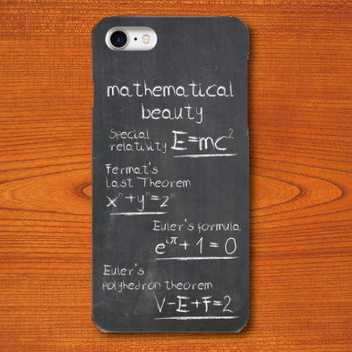 黒板文字/美しい数式/灰色/グレー/iPhoneスマホケース(ハードケース)