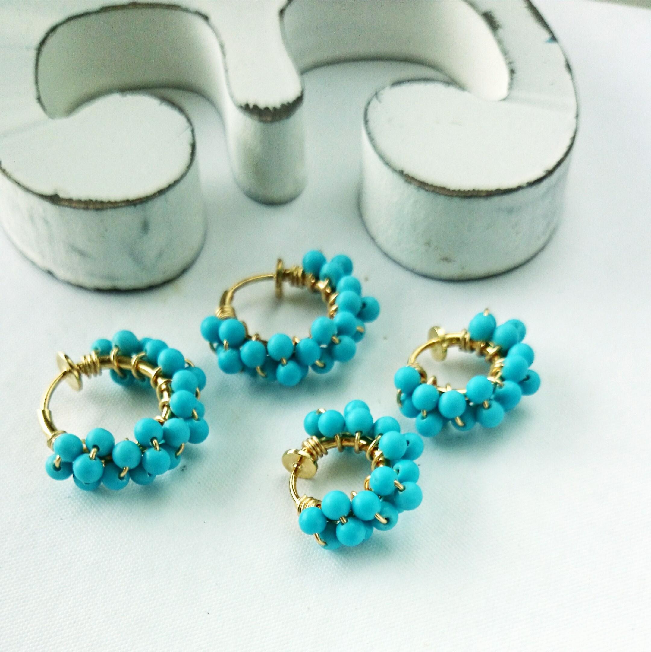 送料無料 Turquoise♡wrapped earring/pierced earring