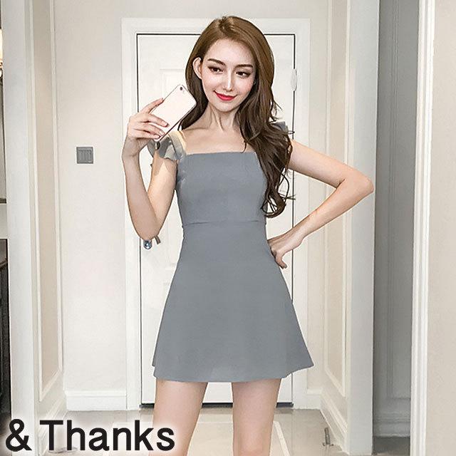ドレス特集 フリルスクエアラインドレス 1カラー 4サイズ