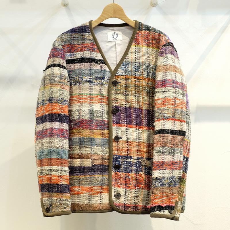 KUON(クオン) ヴィンテージ襤褸裂き織り カーディガン Mサイズ