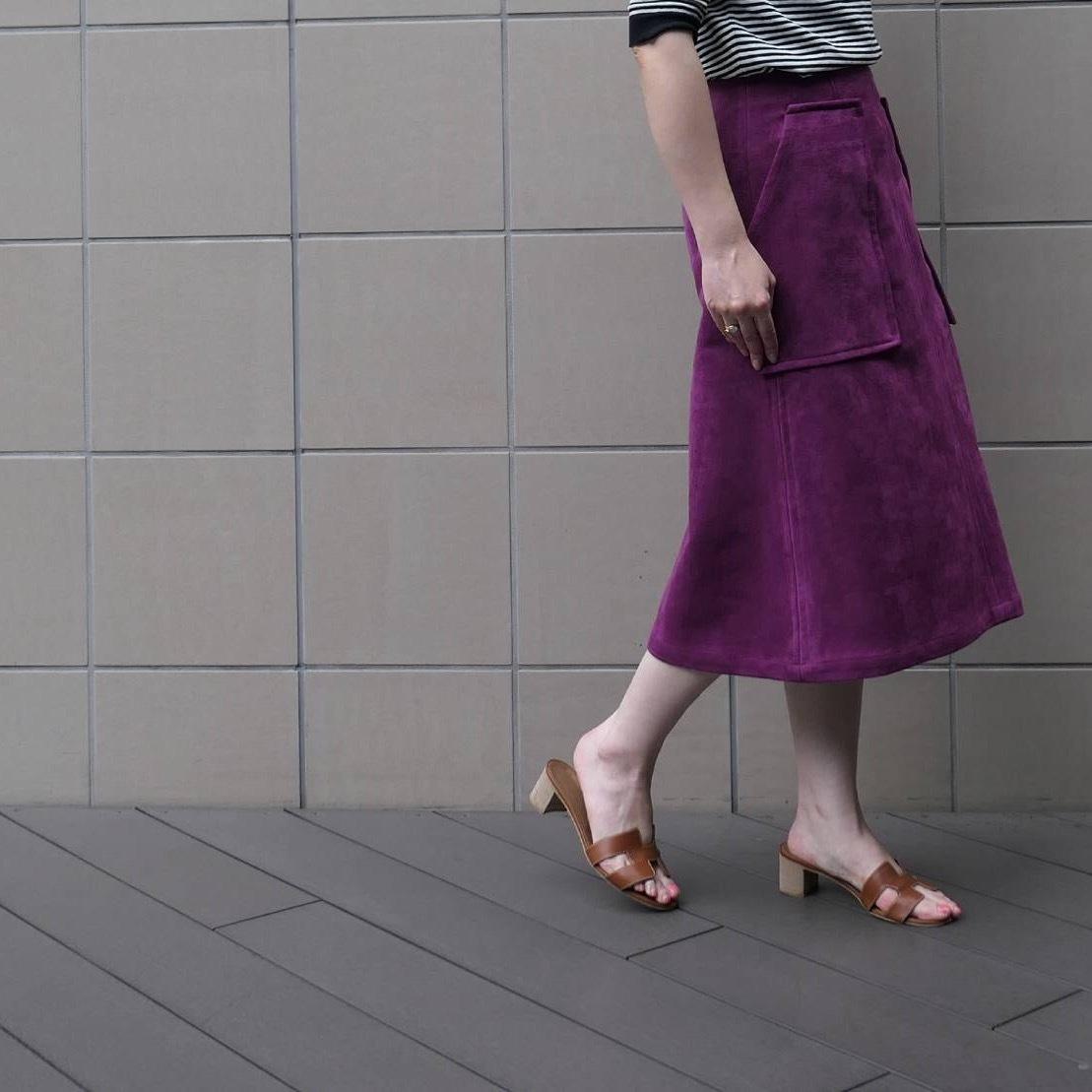 KU-UM×momo フェイクスエードAラインスカート パープル