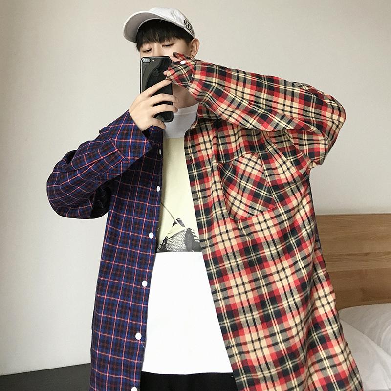 ビッグシルエット アシンメトリーチェックジャケット 韓流ファッション トレンド