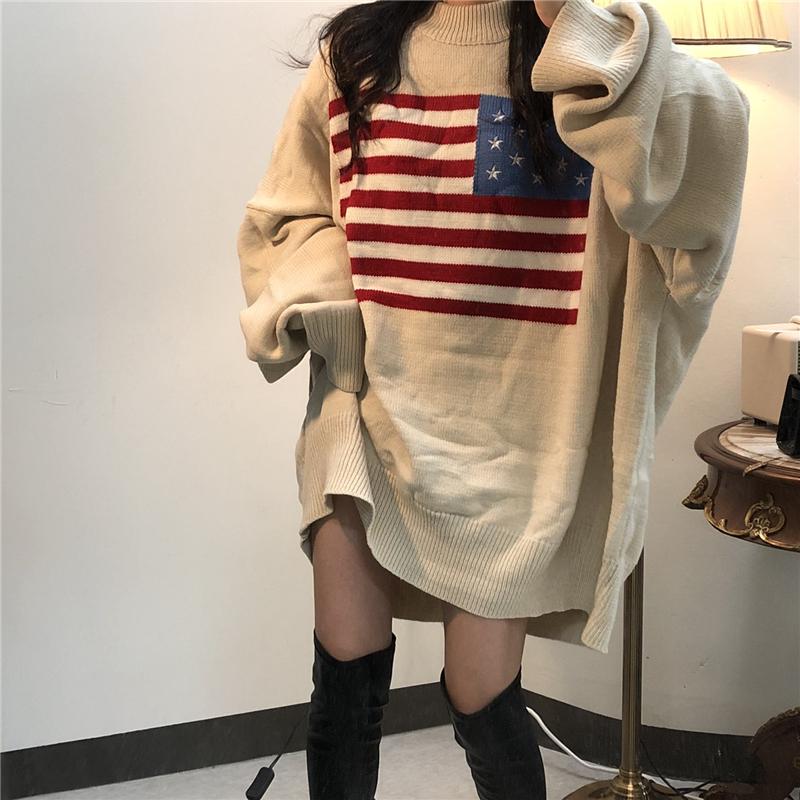 《ゆりいちちゃんねるさん着用アイテム》星条旗柄ニットウールロングトップス