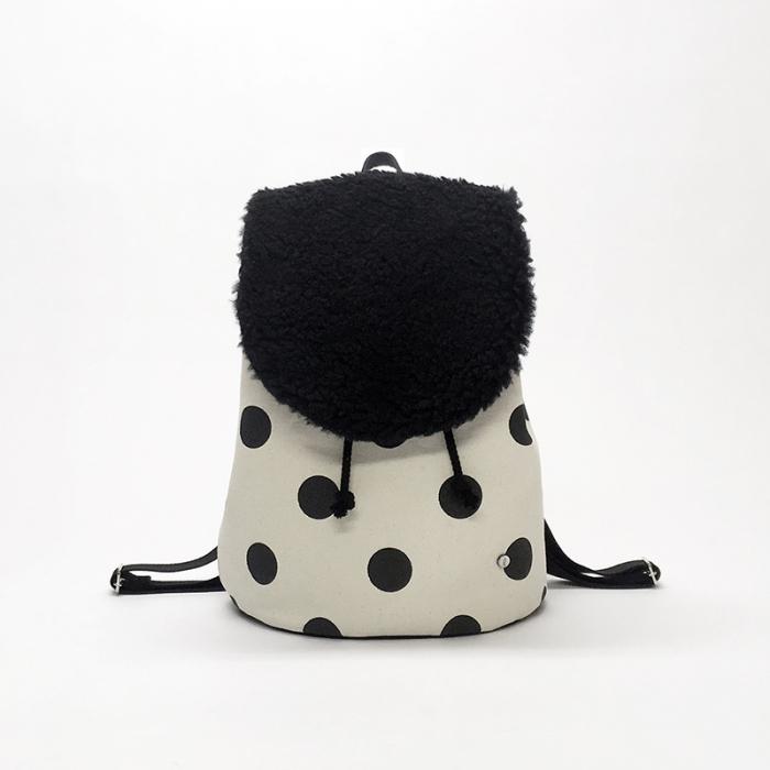 flap rucksack / black x polka dot  フラップリュックサック / 墨 x 水玉