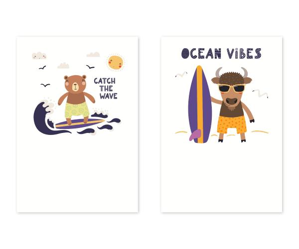 全2種類|サーフィンをテーマにした動物イラストの暑中お見舞いテンプレート