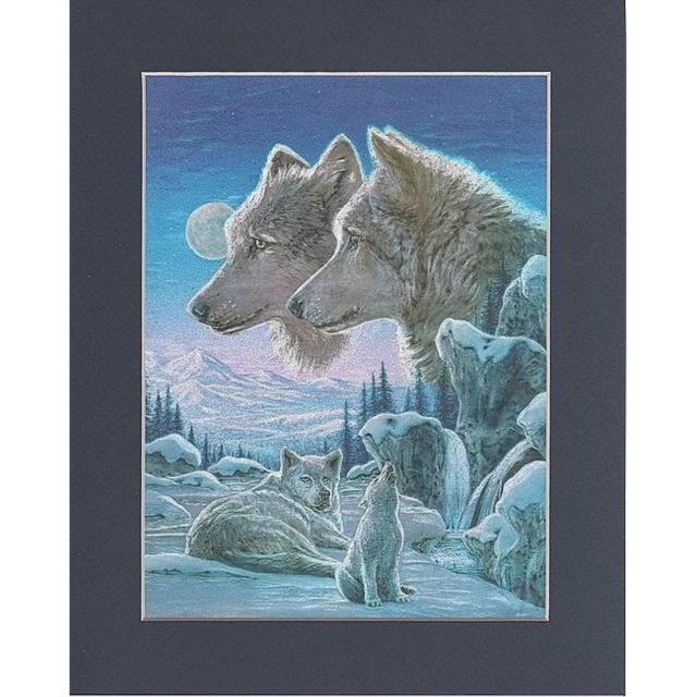 【アルミ彫刻画】子供狼の遠吠え[a178ms]