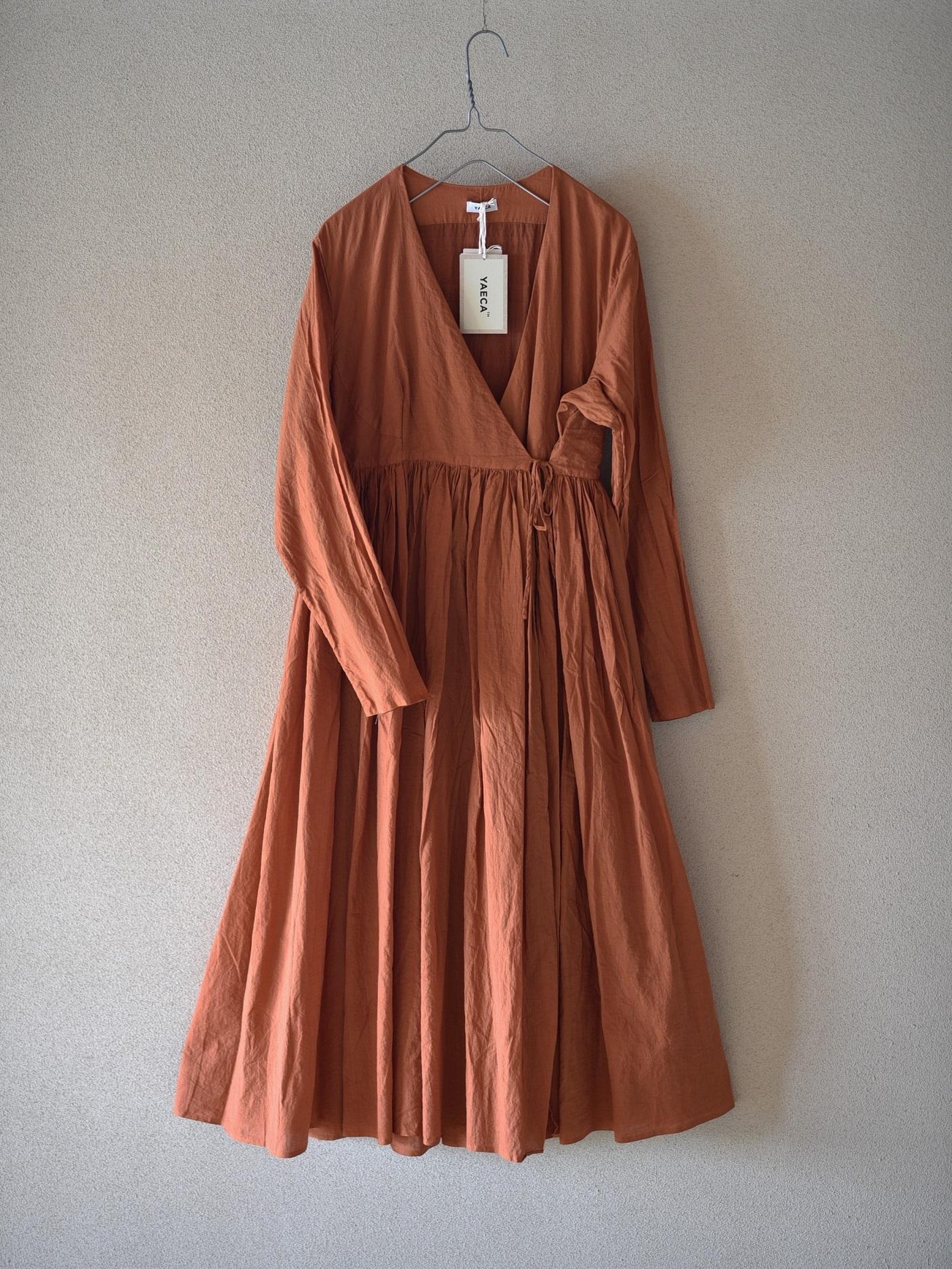 YAECA khadi |ラップギャザードレス Cinnamon