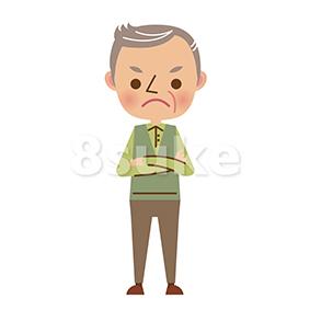 イラスト素材:腕組みをするおじいちゃん(ベクター・JPG)