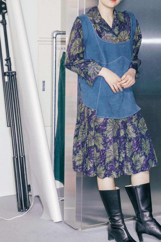Dark tone Botanical Pattern Dress