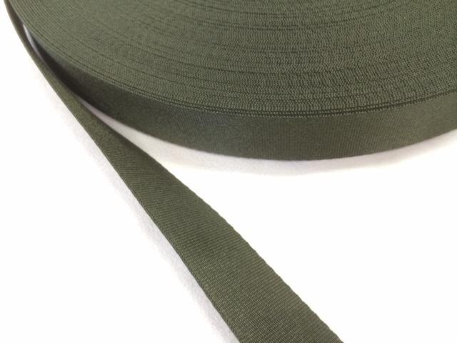 ナイロン サテン 流綾織 カーキ (ミリタリー 国防色) 20㎜幅 5m