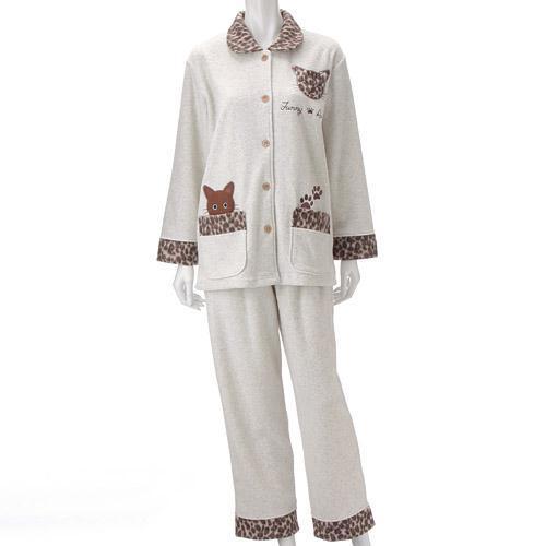 【お取り寄せ】ねこパジャマ シャツタイプ  ベージュ
