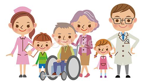 イラスト素材 医療スタッフと患者家族イメージ 医者 看護師 患者