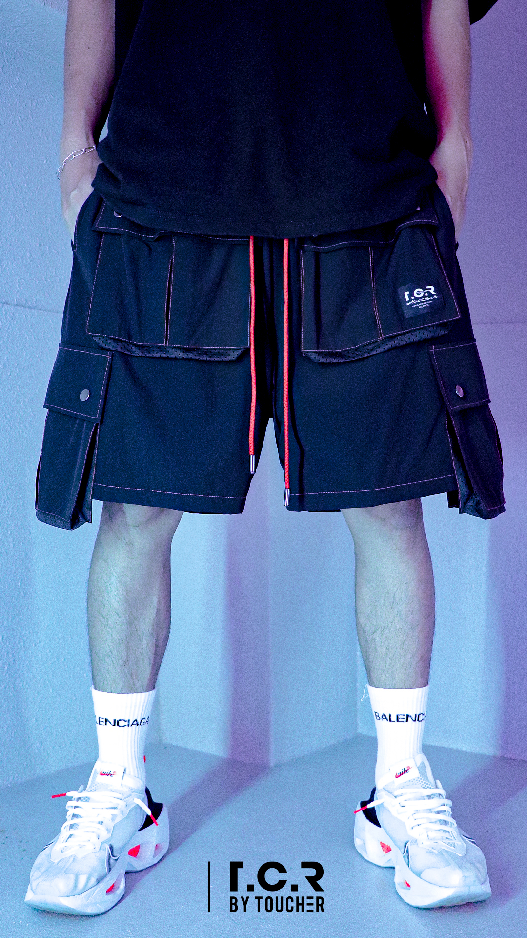 EQUIPMENT SHELL SHORTS -  BLACK/ORANGE