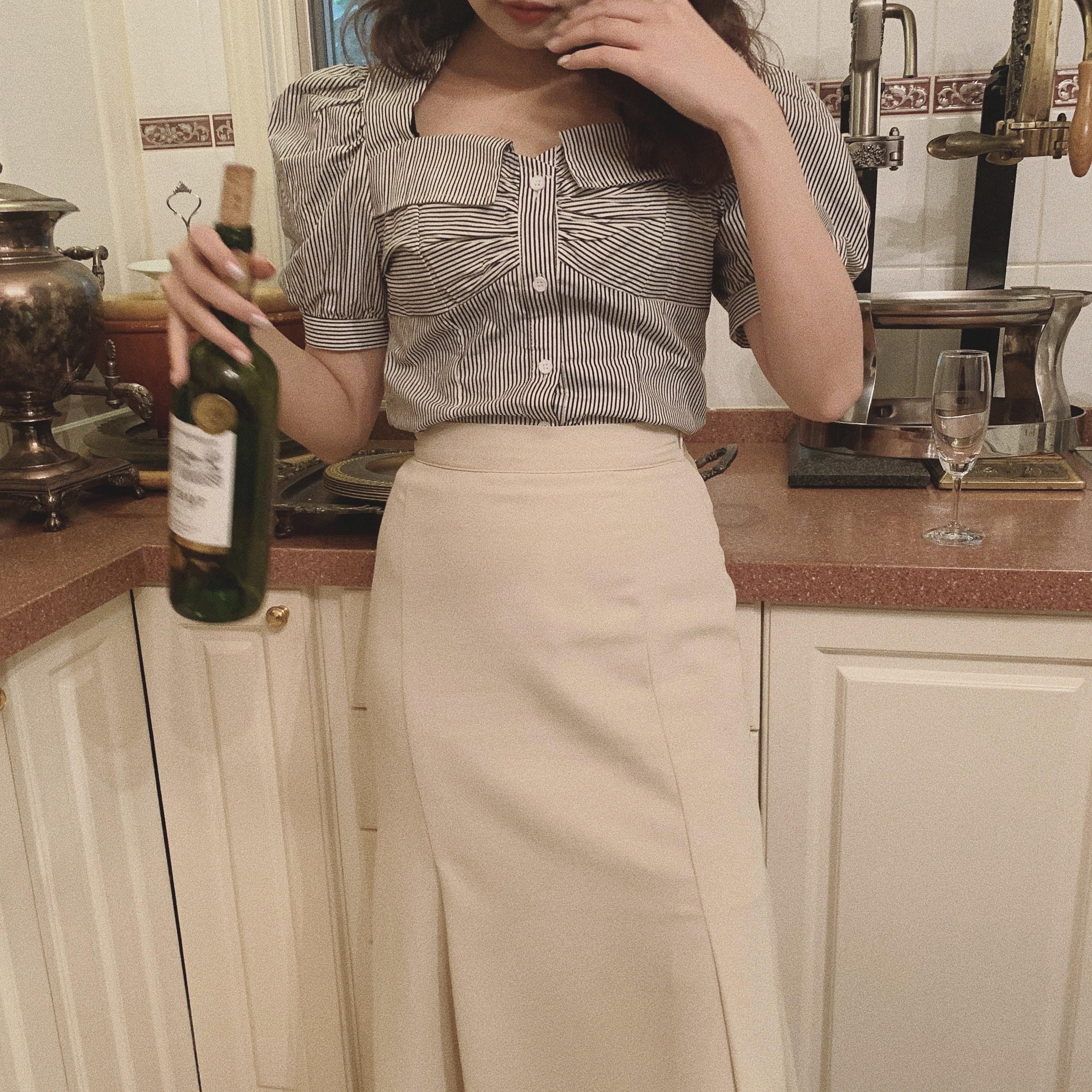 retro stripe blouse