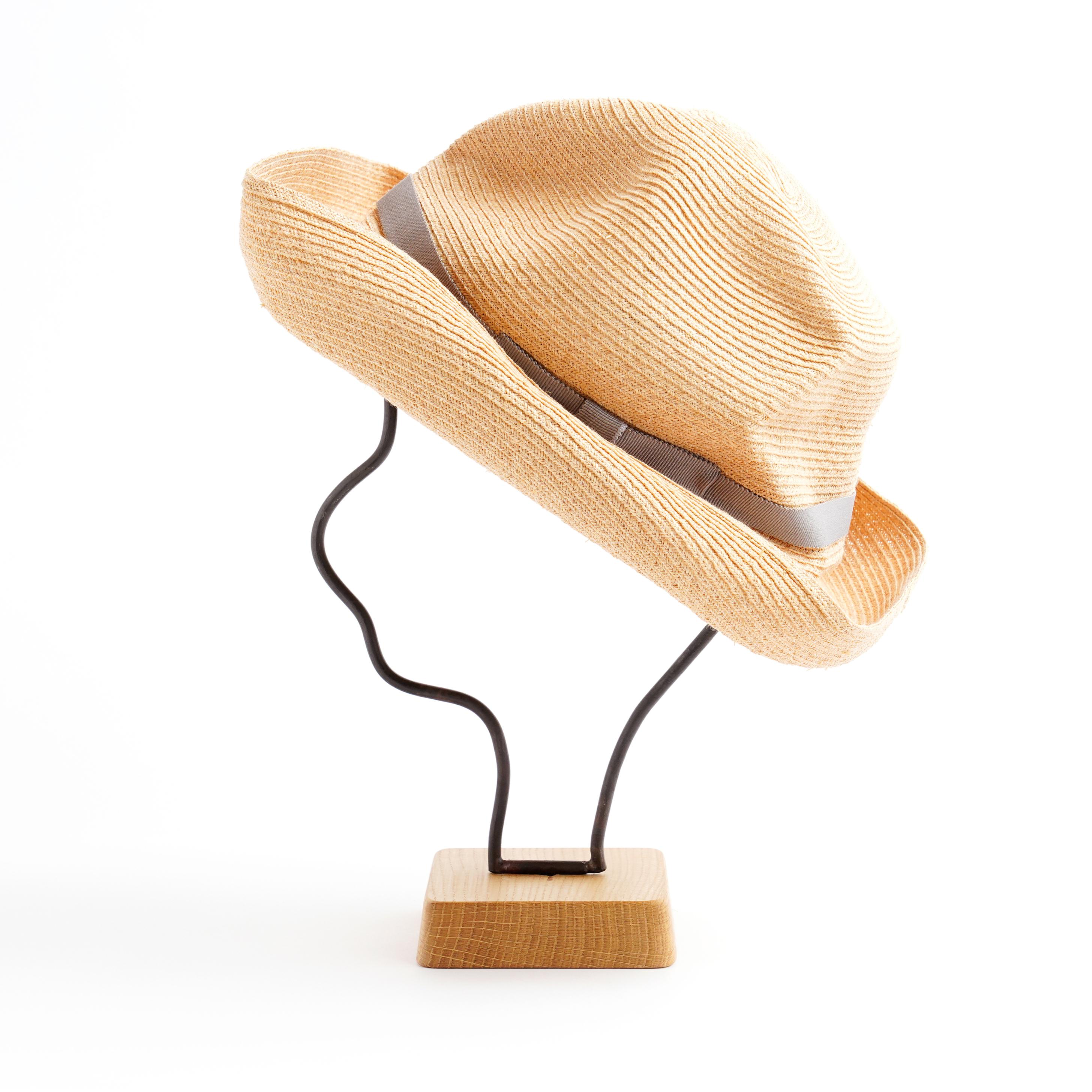 mature ha./BOXED HAT 401 raffia 11cm brim/natural×pale grey double