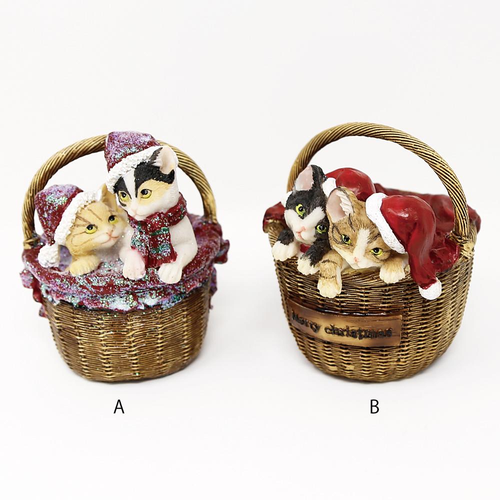 猫オブジェ(バスケットキャットサンタ)