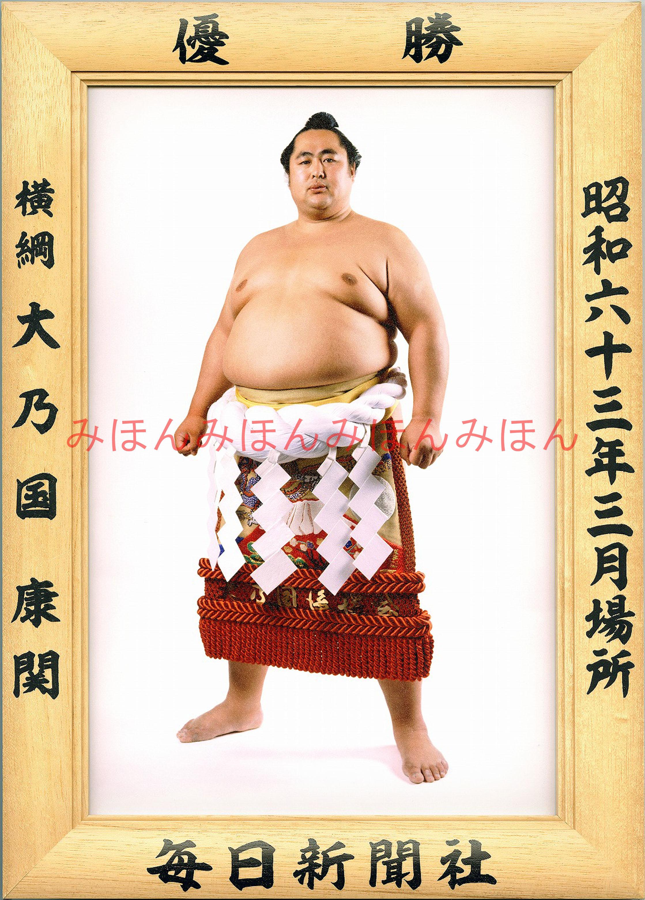 昭和63年3月場所優勝 横綱 大乃国康関(2回目の優勝)
