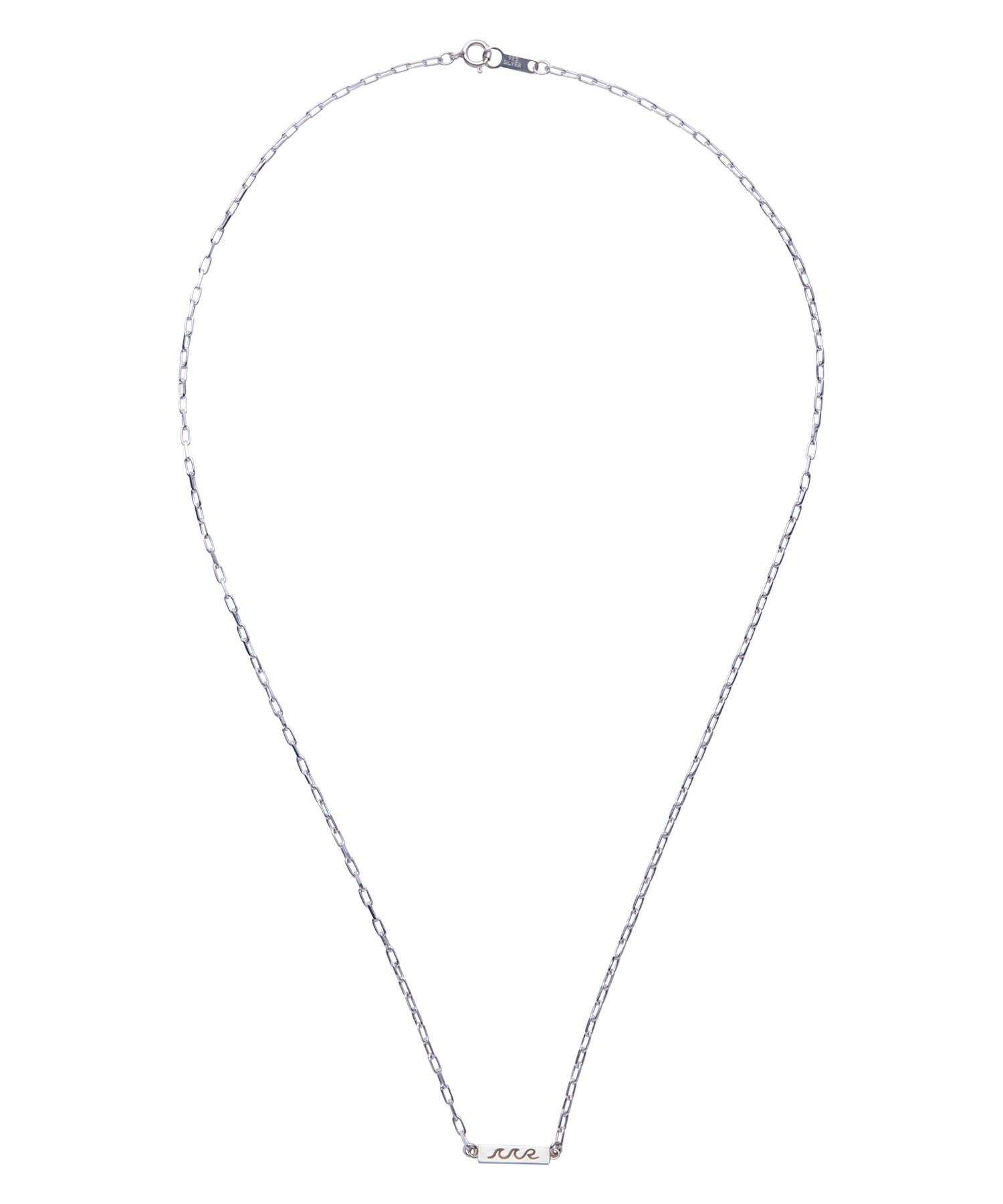 WAVE ICON PLATE CHAIN NECKLACE-SILVER[REA125]