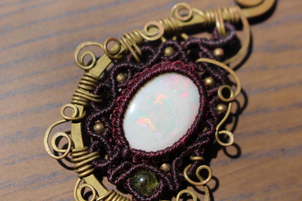 Opal brass pendant