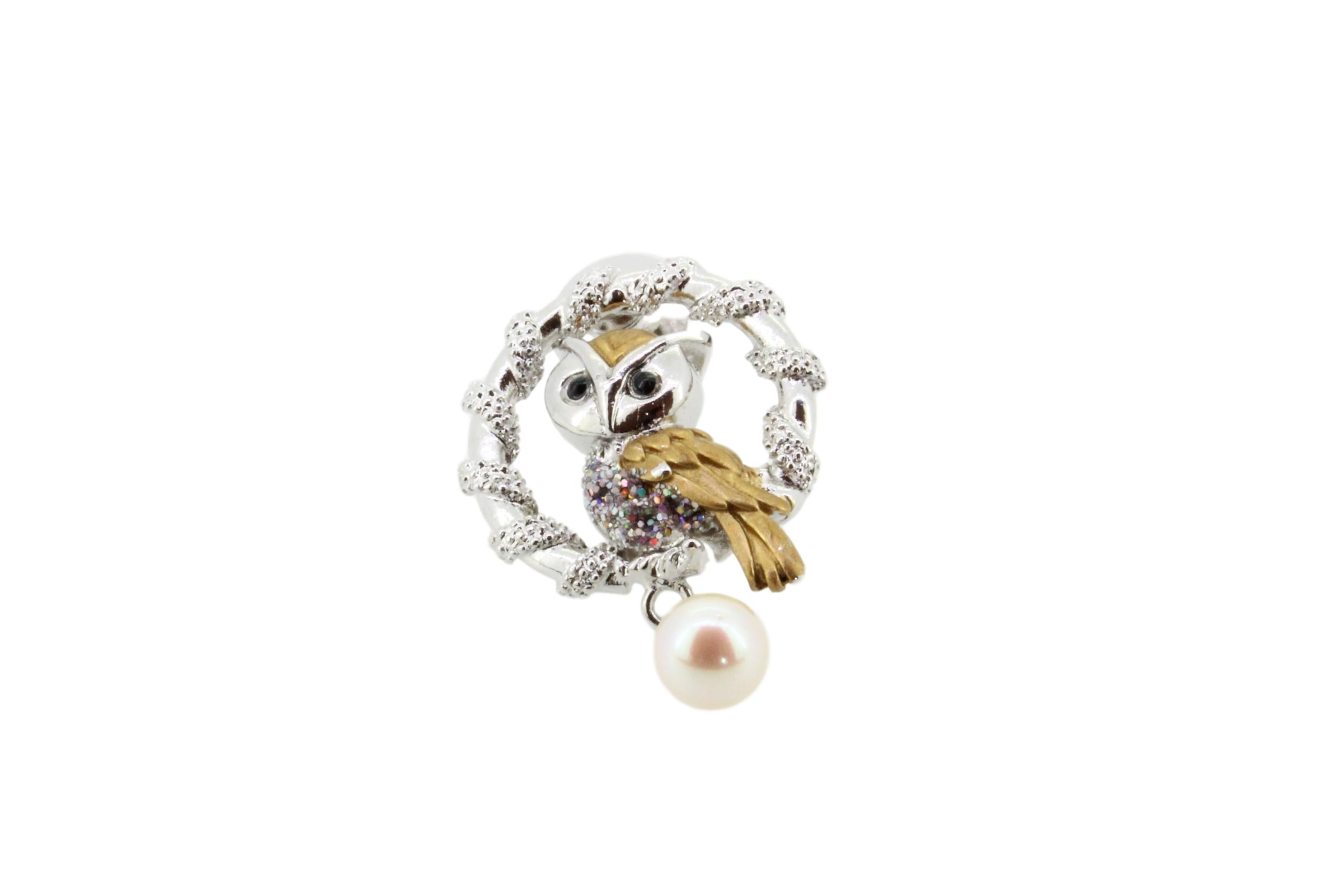 アコヤ真珠 ピンブローチ〈フクロウ大〉