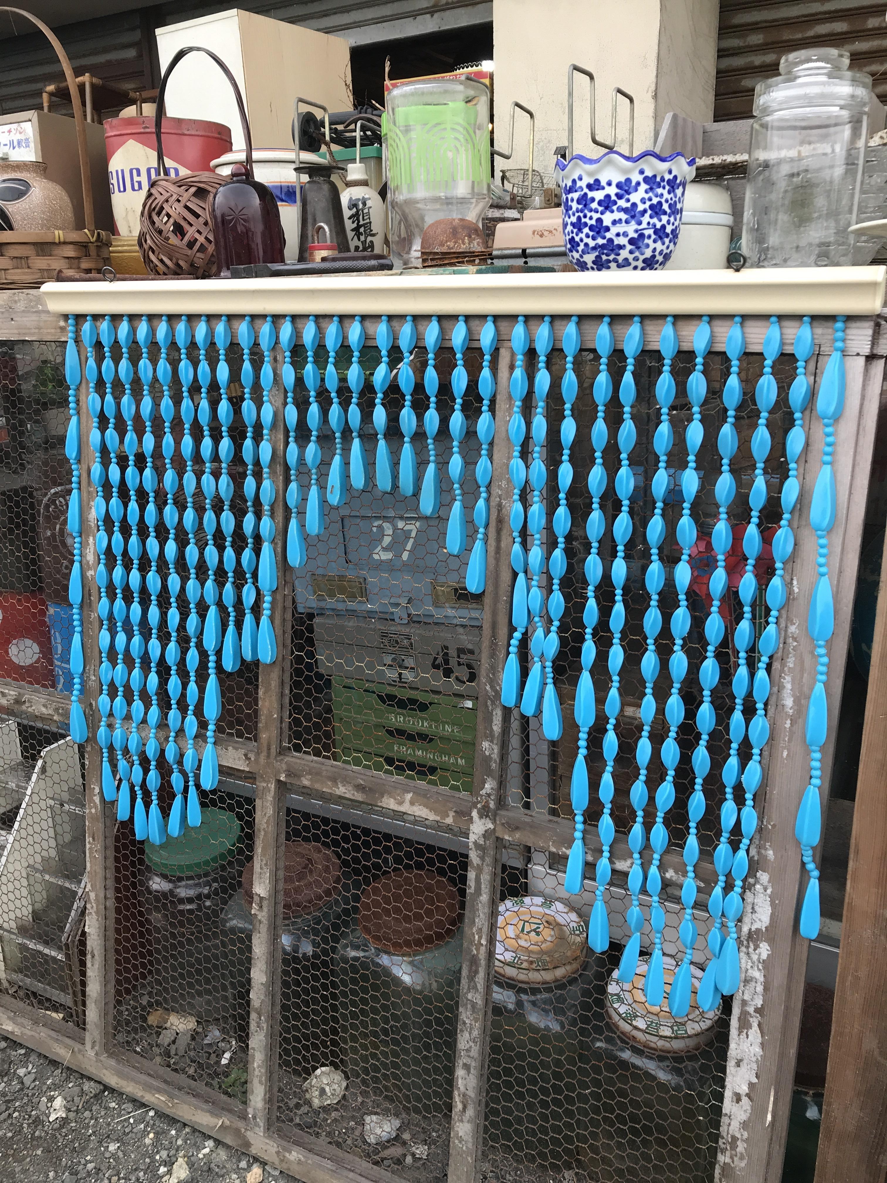レトロ 暖簾 ブルー
