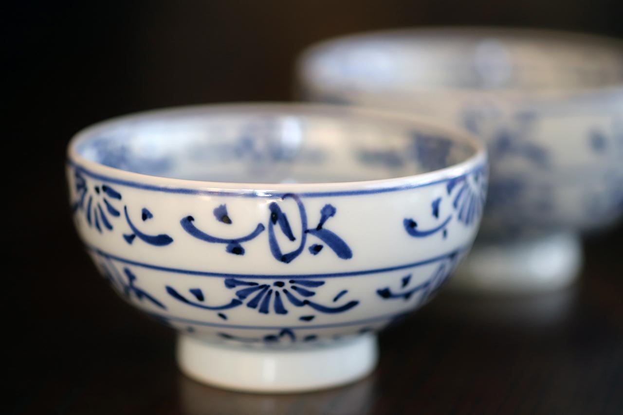段草花 飯碗(大)(小) 作:井手國博・与志郎窯(有田焼)