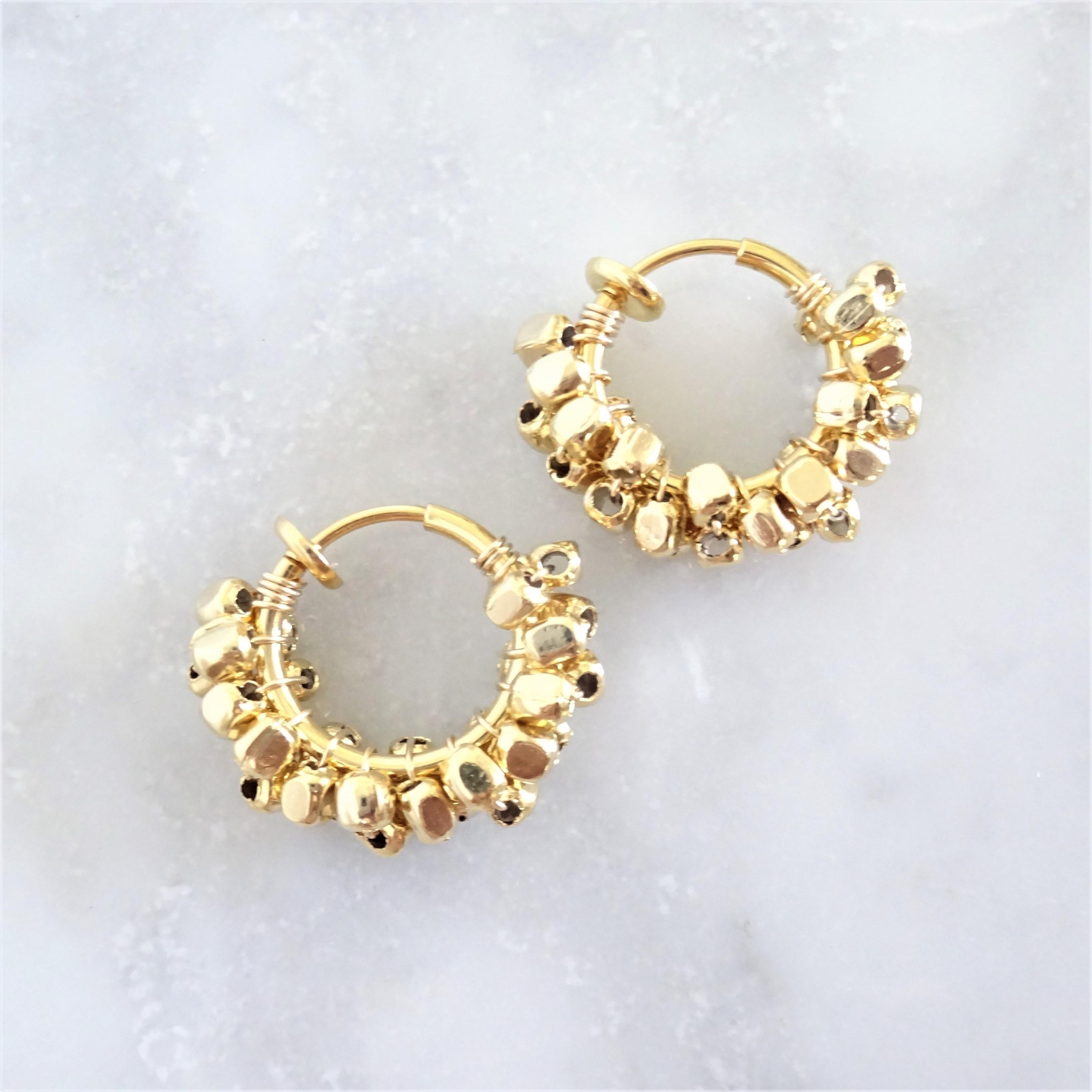 送料無料 gold / silver square metal*wrapped hoop earring