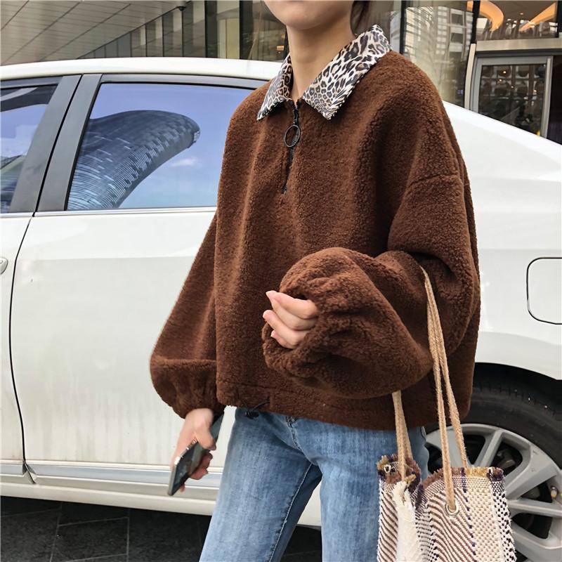 【送料無料】ヒョウ柄の襟が可愛い♡ セーター ボリューム袖 ふわふわ ゆったり