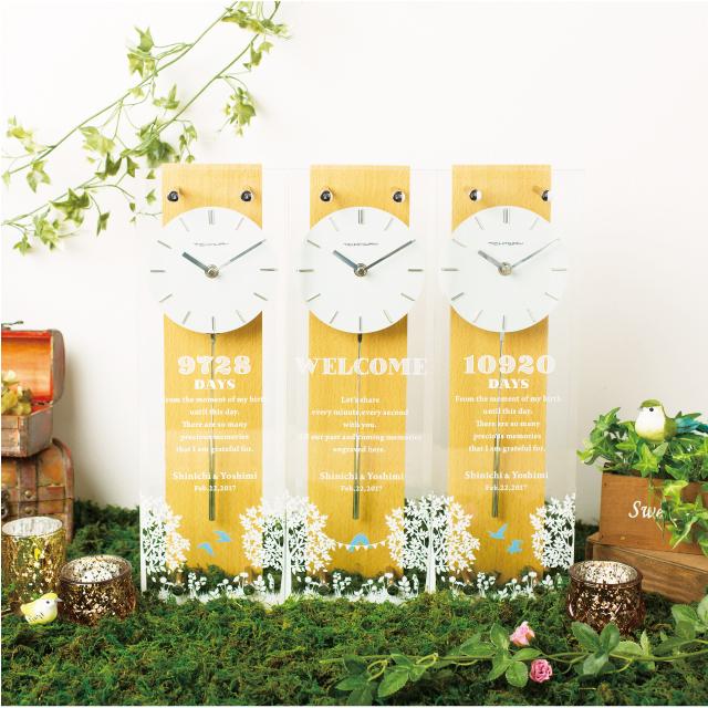 ウェディング 両親贈呈品 Kizuna3連時計 ブルーバードBlue Bird 【送料無料】 結婚式 プレゼント 三連時計