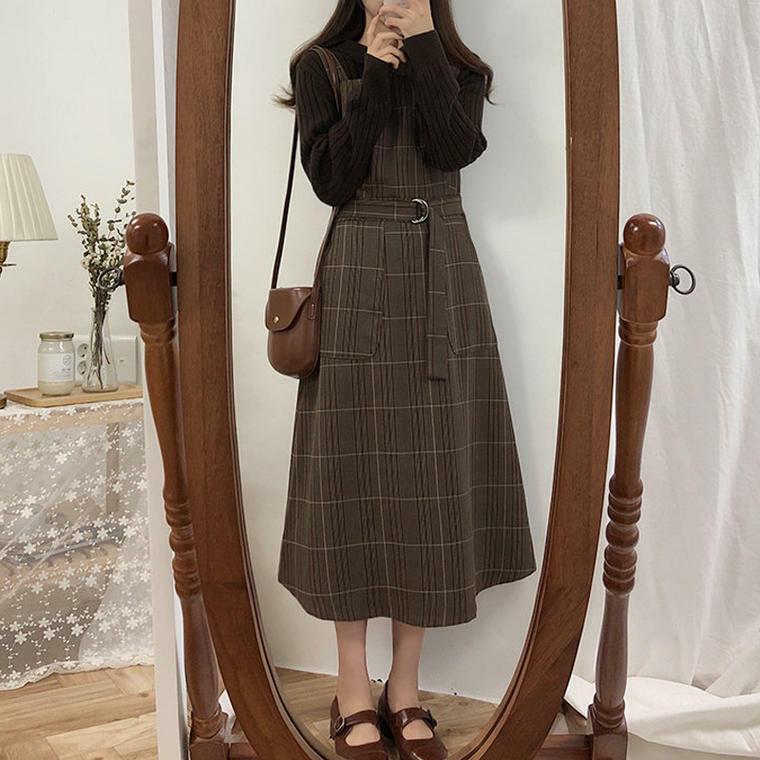 【送料無料】 秋のガーリースタイル♡ チェック柄 ベルト付き ロング ワンピース ジャンパースカート レトロ