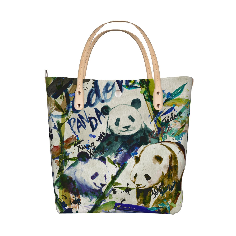 ◆受注生産◆デザイントートバッグ「アートペイントパンダファミリー」柄