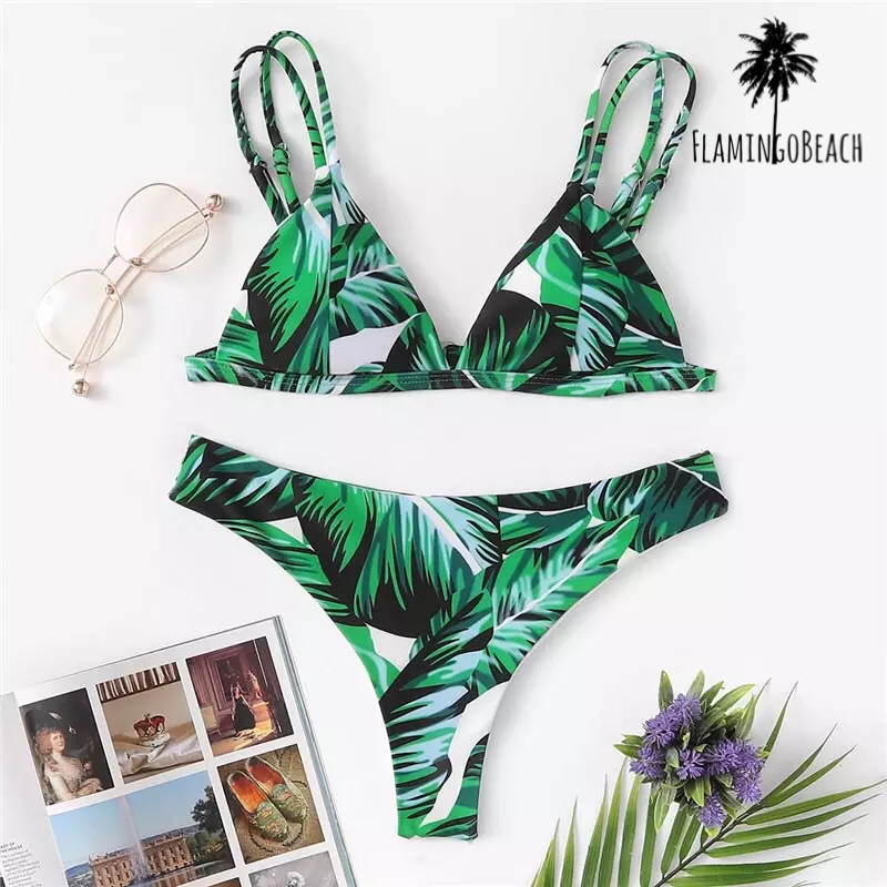 【FlamingoBeach】leaf Brazilian bikini リーフ柄 ビキニ