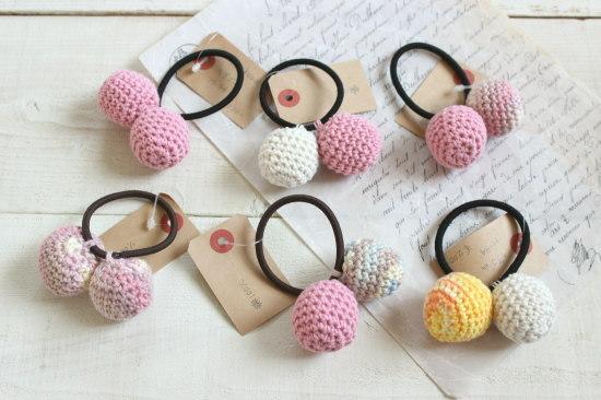 ぼんぼんヘアゴム*手編み ピンク系/sakura 型番:H-34