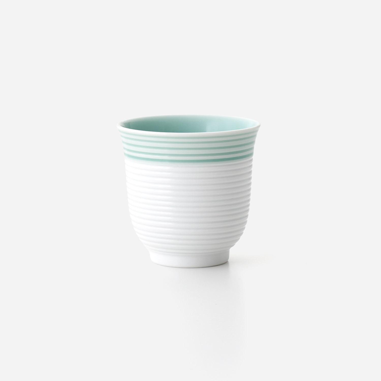 青磁白彩 湯呑(小)