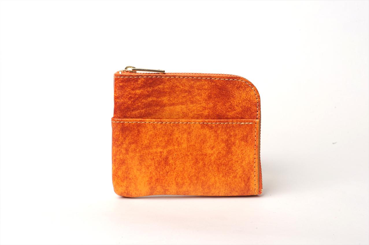 L型ミニウォレット(アニリン仕上げ) カラー:オレンジ