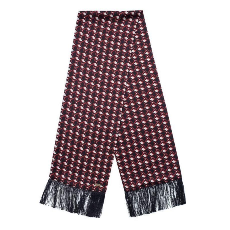 【Original John】 ジオメトリック調 スカーフ 〈Black × Red〉