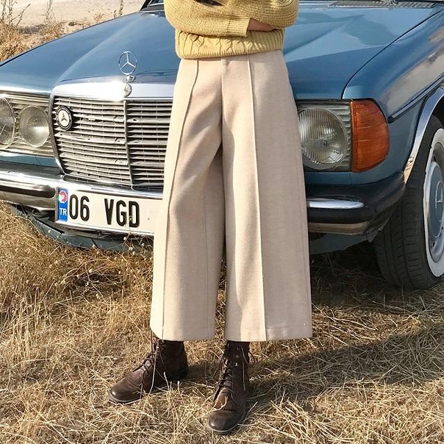 人気 レデイース ヘリンボーン ワイドパンツ パンツ ボトム クロップド センタープレス ベージュ 無地 シンプル