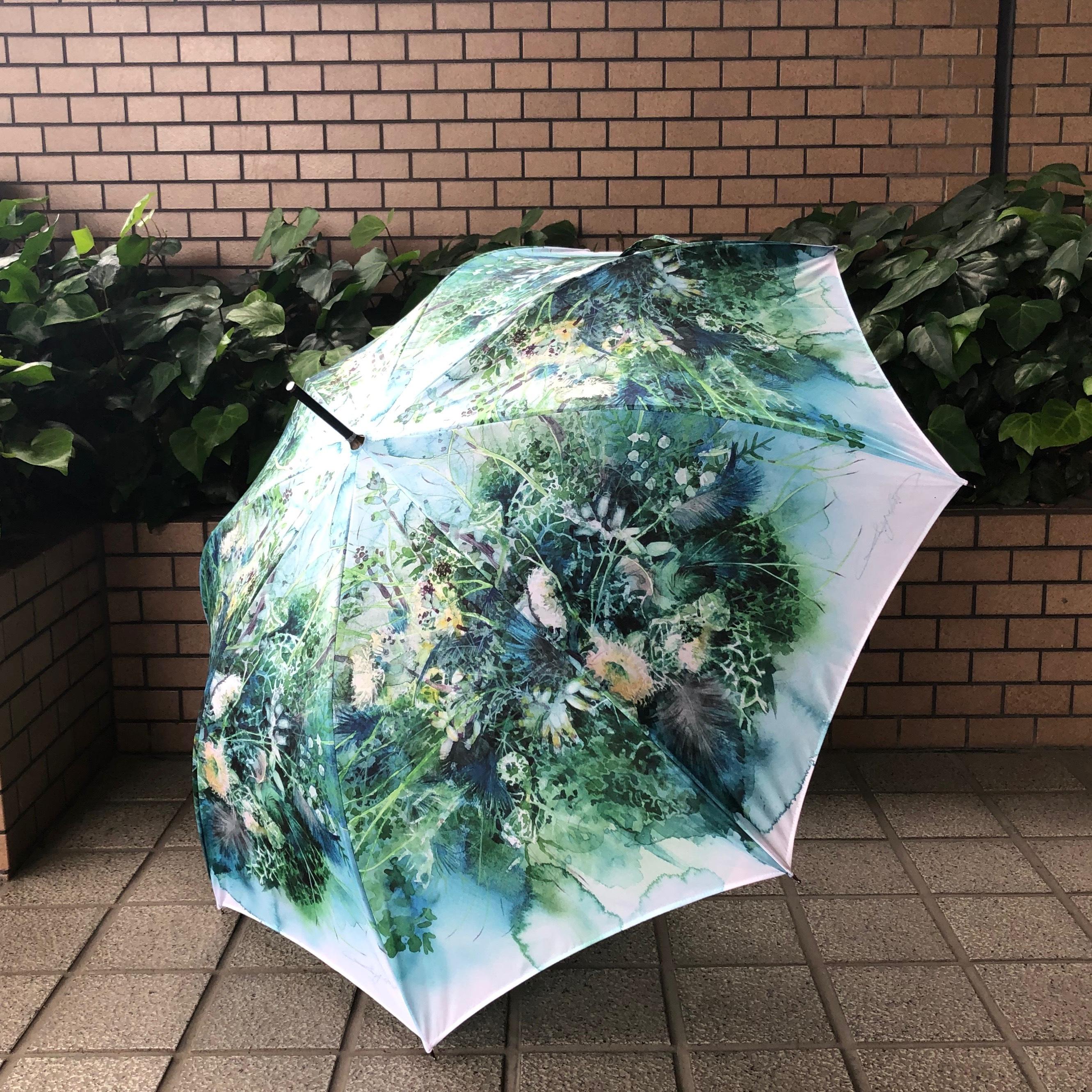 【受注生産】柘植彩子オリジナル雨傘「ターコイズボタニカル」