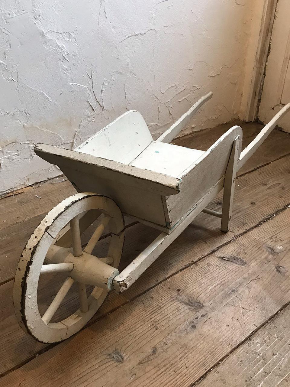 木製 手押し車 ホワイトシャビーペイント 白 花車