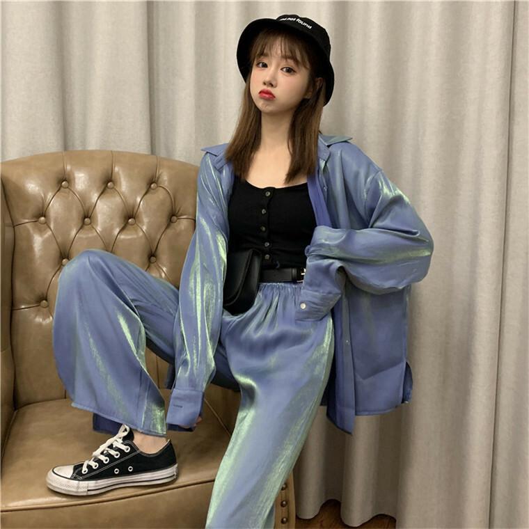 【送料無料】 ネオンカラーがおしゃれ♡ オーバーサイズ シャツ ショートパンツ スリット入り ワイドパンツ セットアップ