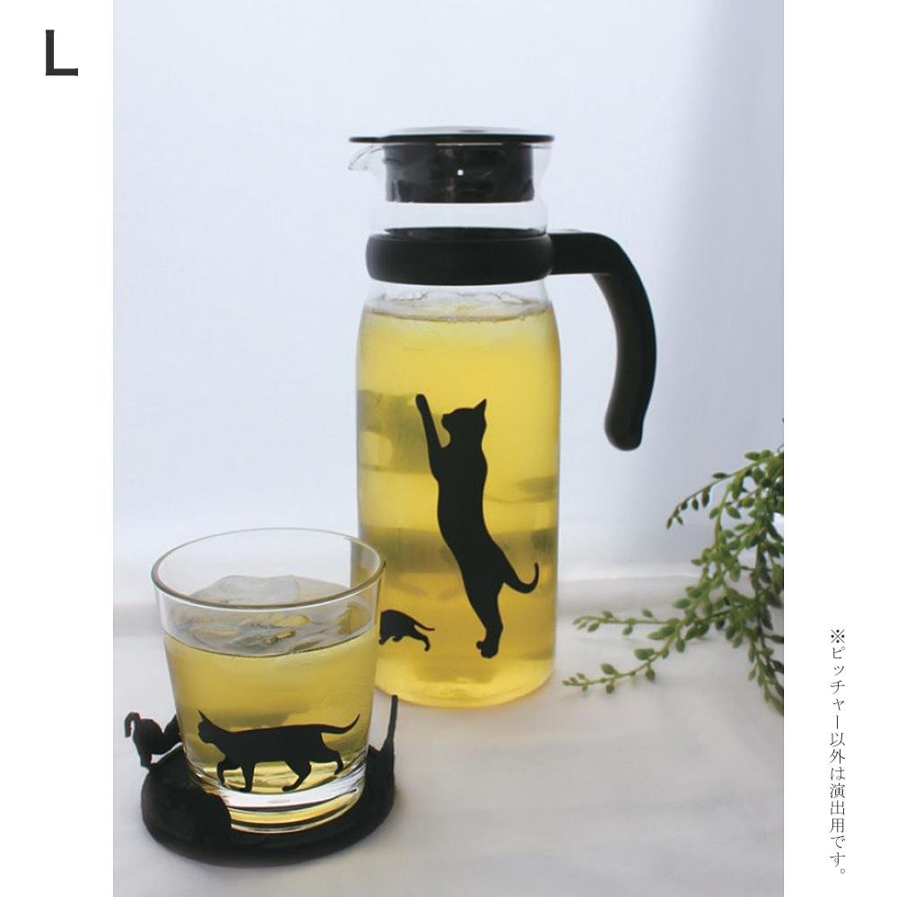 猫ピッチャー(黒猫ガラスピッチャー)L