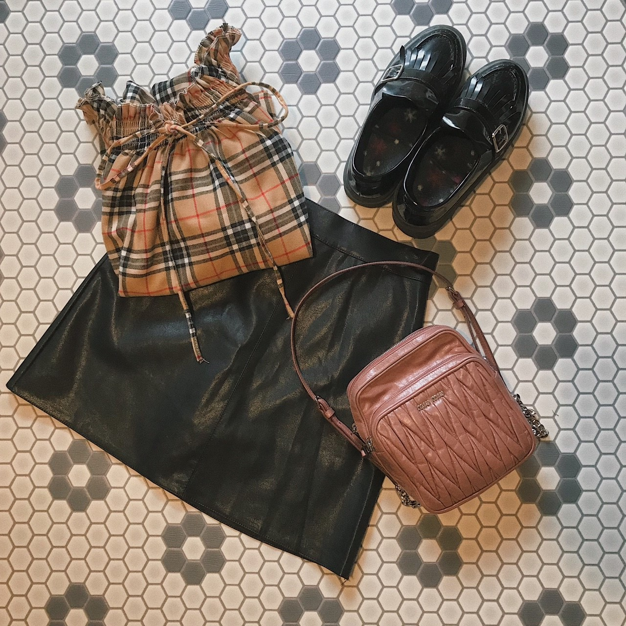 ♡leather skirt