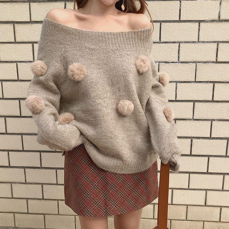 長袖ポンポン付きニットセーター153