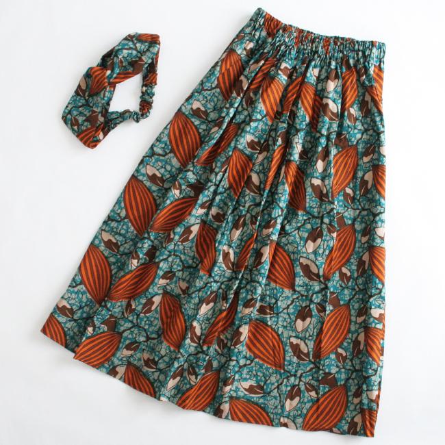 アフリカンプリントスカート&ヘアバンドセット/195b/ &JOURNEY orginal