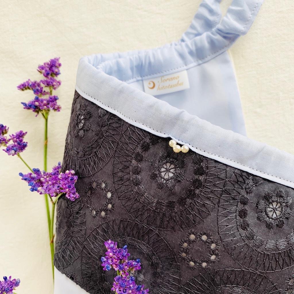 フンティ刺繍レース ダークグレー×マロウブルー
