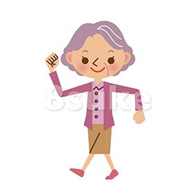 イラスト素材:元気に歩くおばあちゃん(ベクター・JPG)