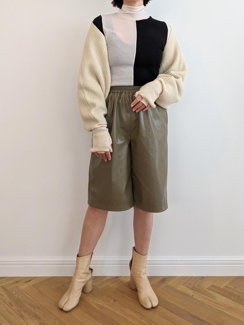 Fake Leather Half Pant