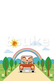 イラスト素材:ドライブを楽しむ家族/春・夏(ベクター・JPG)