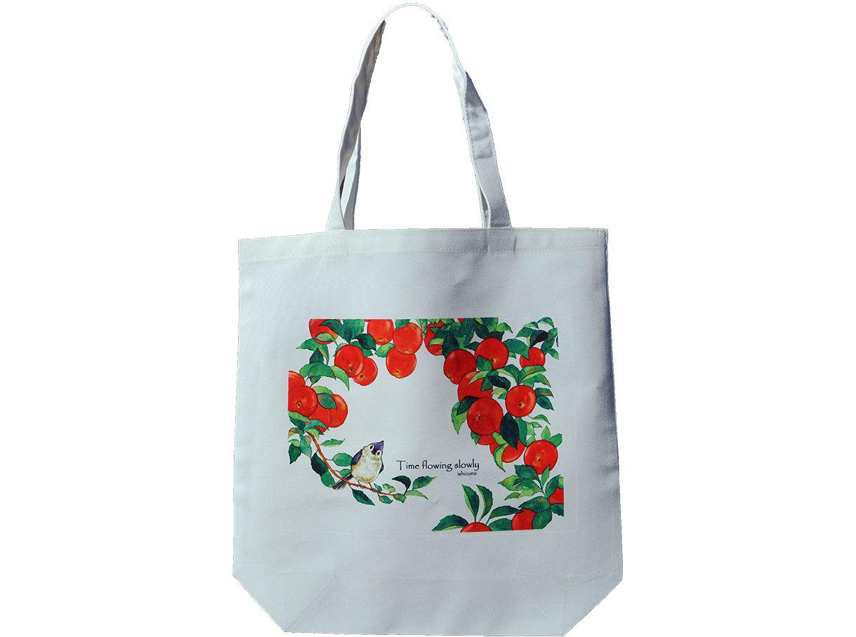りんごと小鳥のトートバッグ